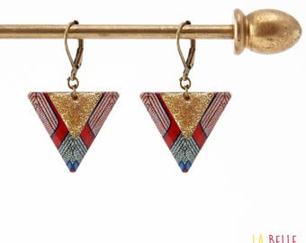 Earrings resin triangle pattern graphic wax and enamelled sequins