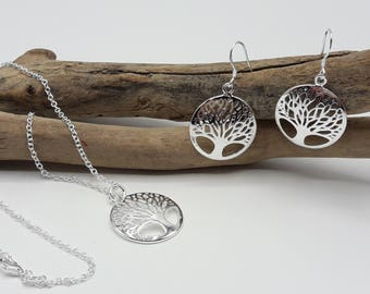 Necklace and earrings tree of life - Silver 925 - woman tree of life jewelry - A153