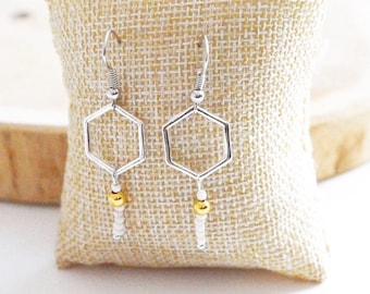 """Hexagon Silver"" earrings"