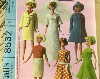 """On SALE Vintage 1960s Official Barbie Doll's Instant Wardrobe Pattern / McCall's 11 1/2"""" Doll Clothes Sewing Pattern 6 Mod Outfits Wedding D"""