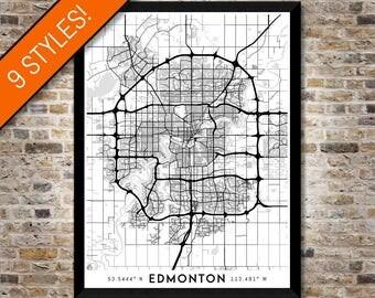 Every Road in Edmonton map art | High-res digital Canada map print, Edmonton print, Edmonton poster, Edmonton art, Wall art, Alberta map