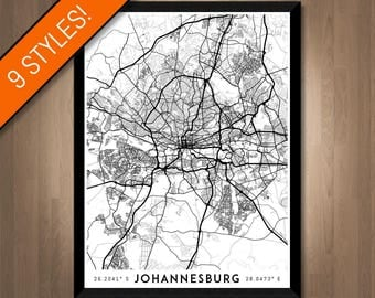 Every Road in Johannesburg map art   Printable South Africa map print, Johannesburg print, Johannesburg poster, Johannesburg art, Wall art