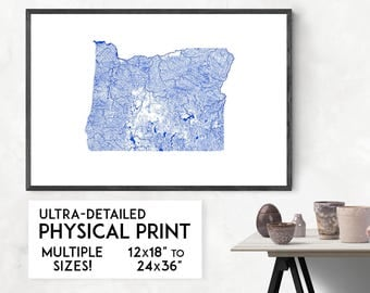 Waterways of Oregon print | Physical Oregon map print, Oregon poster, Oregon art, Oregon map art, Oregon wall art, Oregon gift, Portland map