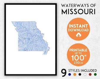 Missouri map print, Missouri print, USA map, Missouri poster, Missouri wall art, Map of Missouri, Missouri art print, Missouri gift