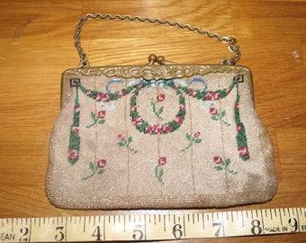 A micro mosaic Edwardian beaded purse