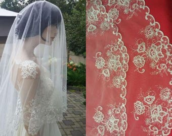 Thistle -  Mantilla Bridal Embroidered Veil/1-tier or 2-tier/Fingertip/Chapel/Cathedral