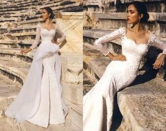 Barbara - Nuage Volant Mermaid Lace Wedding Dress / Detachable Train /Poshfair
