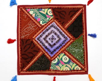 Handmade Hippie Gypsy Home Decor Ethnic Multi color Embroidered Hippy Patchwork Bohemian Pillow Shams Couch Cushion Cover Case G774