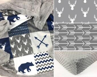 DEER CRIB SET, baby minky bedding, deer bear bedding set, navy gray woodland crib set, arrows mountain baby blanket baby shower