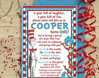 Seuss Inspired Birthday Invitation; Printable Invitation; Dr. Seuss Birthday Party; Thing 1 and Thing 2; Cat in the Hat; Digital File; DIY