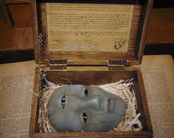 "Faerie Sight Stone Mask Curio Box ""HANDMADE"" Fantasy/Mythology/Folklore/dungeons & Dragons/Larp/unusual/fairy magic/fairy gifts/fay folk"