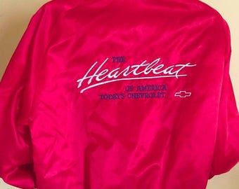 ON SALE Vintage Heartbeat of America Chevy GM Red Satin Jacket Mens Xl Made in Usa