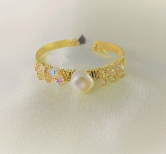 gold plated wedding swarovski Bangle