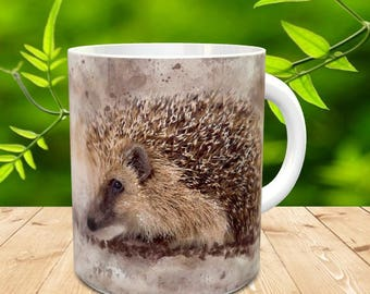 Hedgehog Gift Mug, Painted in watercolour and grunge splatter European Hedgehog, Hedgehog gift mug