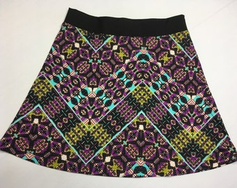 Multi Color Skirt for Activewear/Officewear Skirt made from  Silky Fabric with Hidden Adjustable Tie Comfortable A-Line Cut Skims over Hips
