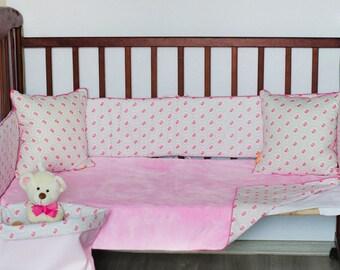 Girl Baby Bedding Set 6psc!!  Girl Baby Bedding Girl Bedding Girl Crib Set Cotton Bedding Baby Set Baby Girl Bedding Pink Girl Crib Set