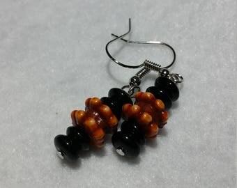 Wooden and Black Beaded Earrings