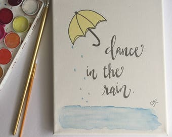 Dance in the Rain Canvas/ Gold Embossing/Umbrella Canvas/Custom Canvas/ Rain Canvas/Free Shipping in US