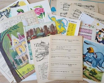 20pcs Mixed Vintage Book Pages (Ephemera Pack for Junk Journals)