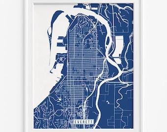Everett Print, Washington Poster, Everett Map, Washington Print, Everett Poster, Washington Map, Street Map, Valentines Day Gift