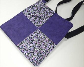 Cross Body Purple Vintage Flower Print Purse