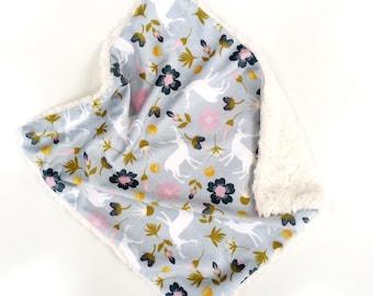 Woodland Floral Baby Blanket, Floral Lovey, Minky Baby Blanket, Baby Girl, Modern Baby Blanket
