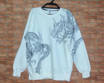 Rare!!! Vintage Sukajan Japanese Dragon Embroidery Sweatshirt Crewneck Pullovers Vtg Sukajan Jacket Japan Fashion