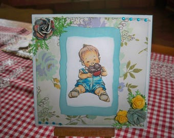 comes with an envelope for baby boy card