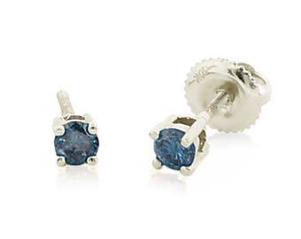 Blue Diamond Earrings  10K White Gold Blue Diamond Solitaire Stud Earrings .25ct - 3mm Round Screw Back Earrings  - Gift for Her
