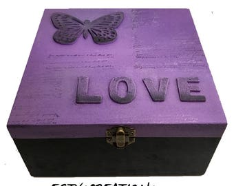 Love and Butterfly - wooden keepsake box, gift for her, gift of love, purple box, gift for daughter, wooden jewelry box graduation gift