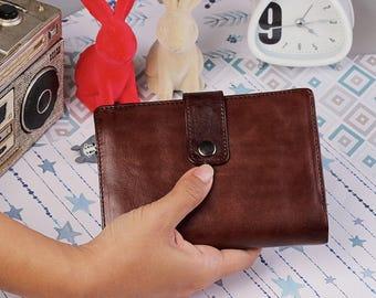 Spacey Wallet Men Women's Genuine Leather Wallet Card  Wallet Passport Wallet GIFT Handmade Bifold Dark Brown IBA0762