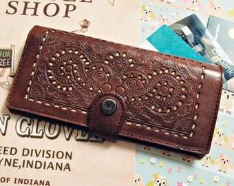 Sigli Women Wallet Carved Wallet Women's Genuine Leather Wallet Card Brown GIFT Handmade Dark Brown Vintage Wallet Free Shipping