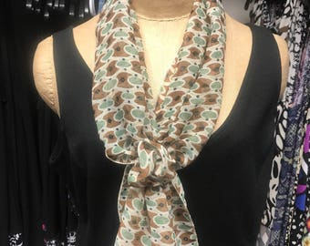Brown, Mint Green & Cream Scarf