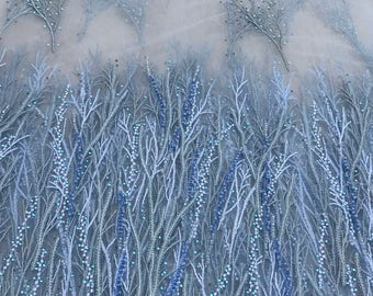 Gorgeous Blue Embroidered Vines with Crystals Tulle Fabric -- 4 yards
