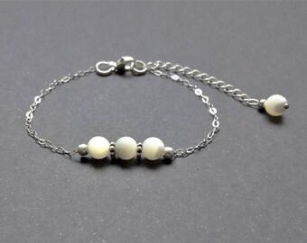 Bracelet Nacre - Argent 925, chaine fine, intercalaires en argent vieilli, pierres fines naturelles, semi-précieuses