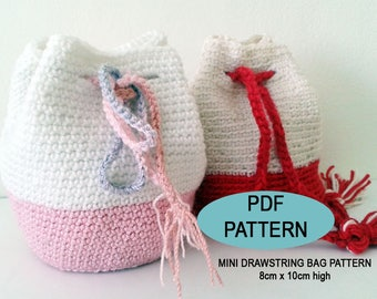 Crochet Mini Drawstring Bag, PDF Pattern, 8 cm. dia, 10 cm.tall, crochet gift, girl crochet purse