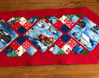 Christmas quilted table runner/table topper with quaint holiday scenes