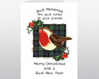 Christmas Tartan Robin Card WWXM18