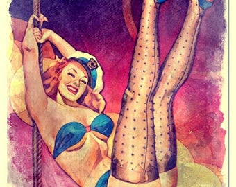 Burlesque watercolor painting art print