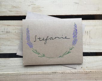 Hand-crafted Custom Herbal Lavender Greeting Cards / Blank Stationery