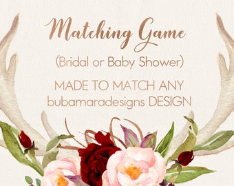 ADD MATCHING Bridal or Baby Shower game, Customizable game to match any of BubamaraDesigns design, add on size 5x7