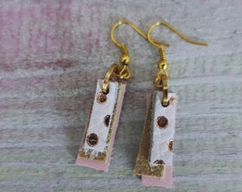 White, Gold, & Pink Leather Earrings (short)