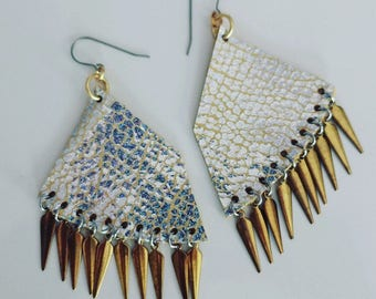 Silver IrIdescent/Yellow Leather Earrings with Gold Charms
