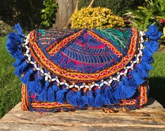 Embroidered Gujarati bag, boho bag, Afghani bag, Indian bag, Banjara bag, crossbody bag, bohemian bag, hippie bag