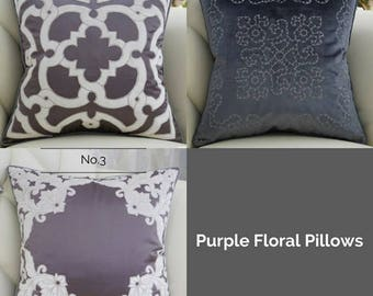 "Luxury Purple Classical Embroidered Floral Pillow Cover 20""X20"""