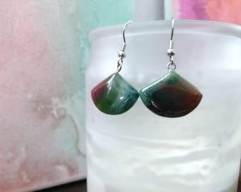 Indian Agate Crystal Earrings - Crystal Earrings - Dangle Earrings - Crystal Jewelry - Stone Jewelry - Fan Earrings - Polished Crystal #526