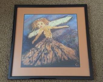 Faerie (8x8 framed art print) - wall decor, housewarming gift, faerie in a meadow