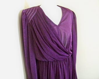 Vintage Original 1980s Dress Party Purple