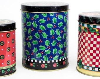 Mary Engelbreit 3 round Christmas tins