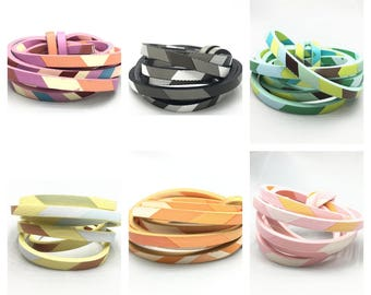 Cord faux leather 5mm - 6 colors - faux leather, patterned, printed, trend - lanyard - pink, Orange, gray, green, purple, yellow